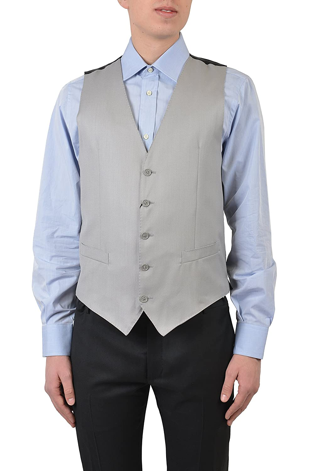 Dolce & Gabbana Wool Silk Gray Men's Vest US 38 IT 48 V-459