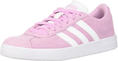 adidas Kids' VL Court 2.0 Sneaker, Frost Pink, FTWR White, FTWR White, 4 M US Big Kid