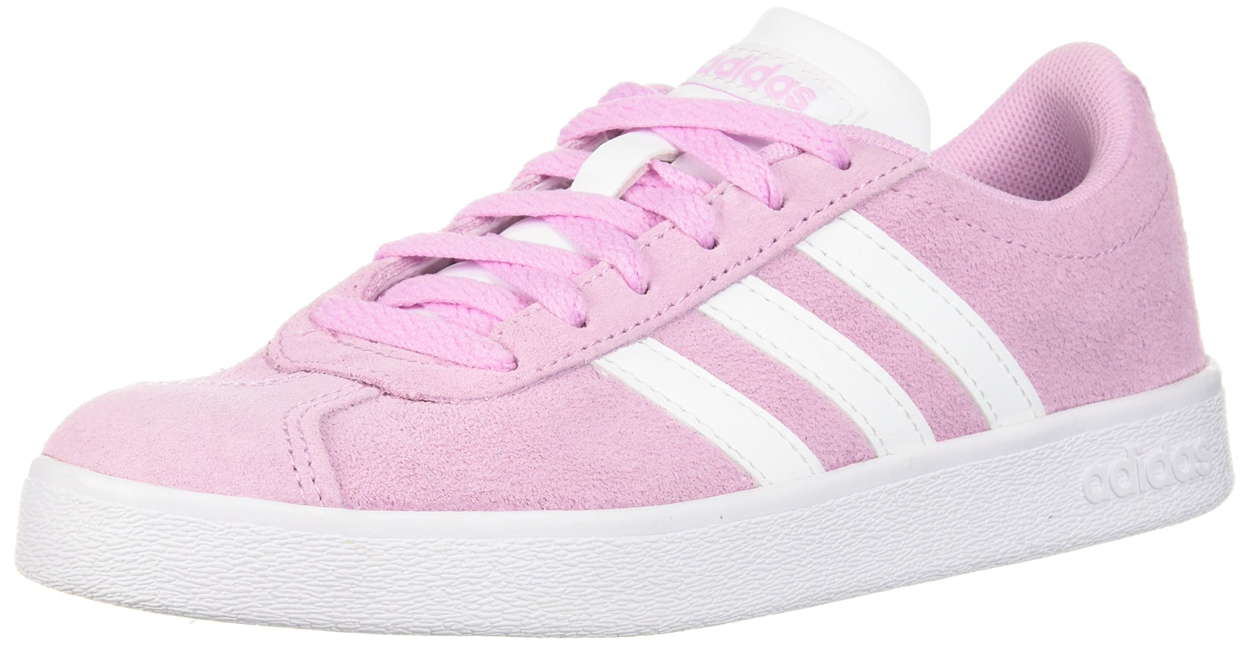 adidas Kids' VL Court 2.0 Sneaker, Frost Pink, Ftwr White, Ftwr White, 1 M US Little Kid
