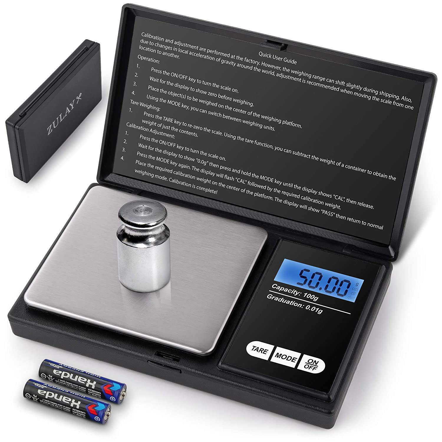 Zulay Digital Gram Scale - Kitchen Scales Digital Weight Grams and Ounces (0.01g/100g) - Digital Pocket Scale For Food, Jewelry, Powder, Herbs & More - Tare Function, Backlit LCD, & Batteries Included