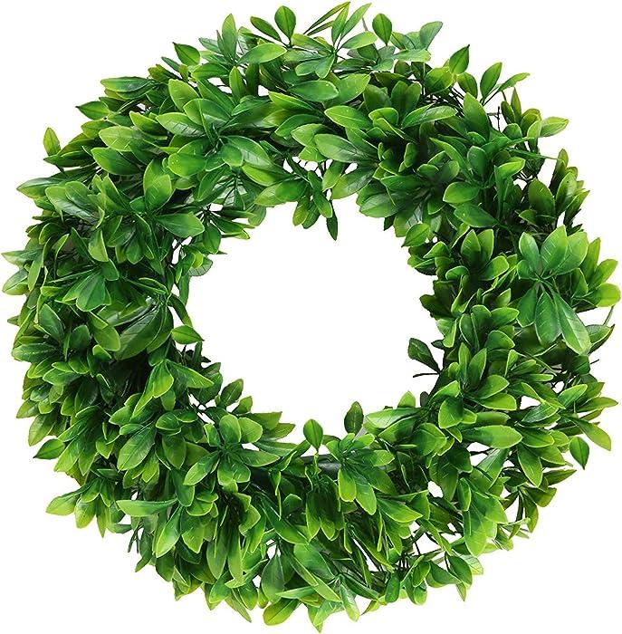 "Pauwer 18"" Artificial Green Wreath Schefflera Front Door Wreath Outdoor Greenery Leaves Wreath for Home Office Wedding Party Christmas Decor"
