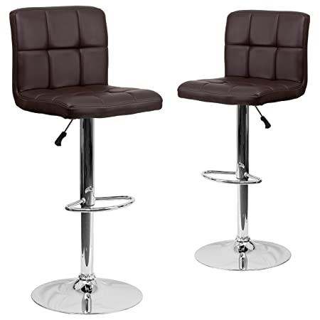 Flash Furniture 2 Pk. Contemporary Brown Quilted Vinyl Adjustable Height Barstool with Chrome Base