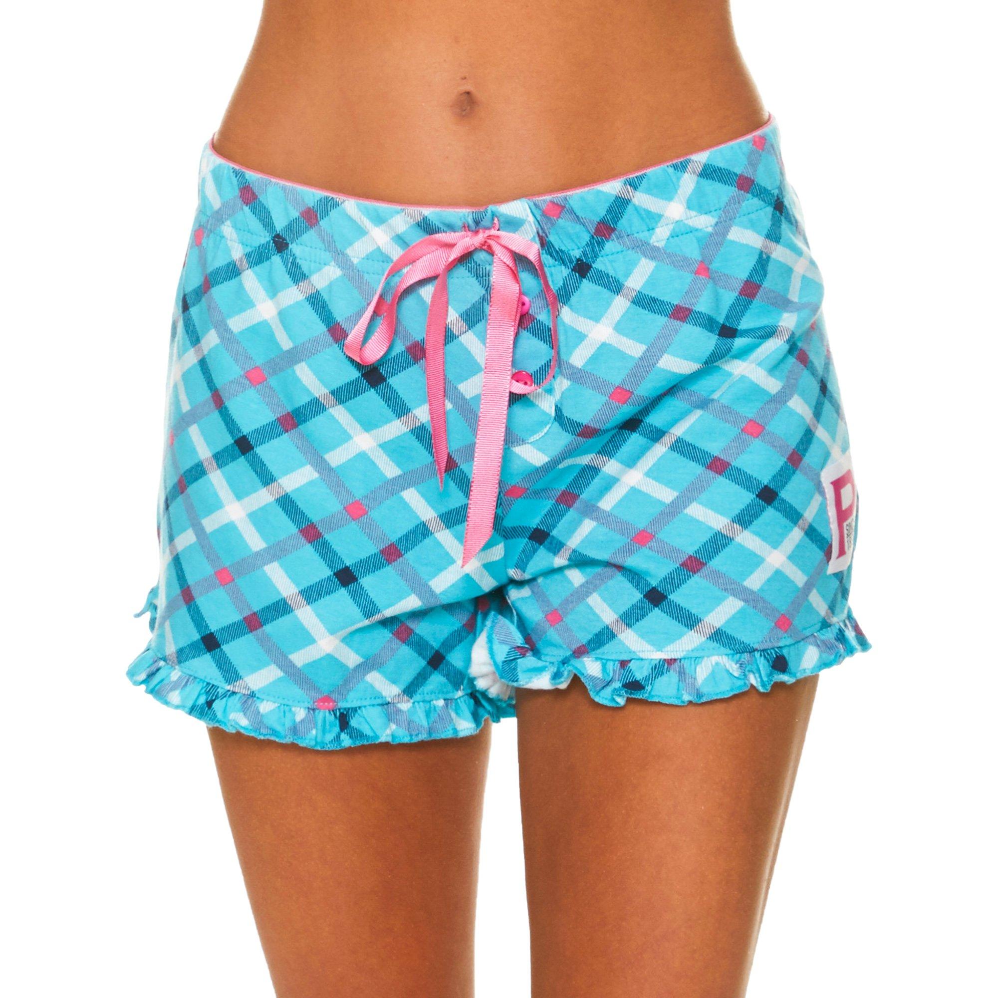 U.S. Polo Assn.. Womens Plaid Ruffle Hem Elastic Waistband Pajama Sleep Shorts Turquoise Large by U.S. Polo Assn.