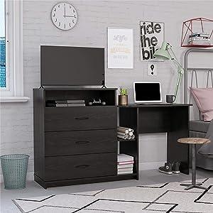 Ameriwood Home Rebel 3 in 1 Combo, Black Oak Media Dresser and Desk