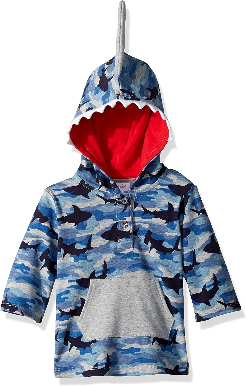 Mud Pie Boys' Baby Camo Shark Hooded Swimsuit Cover Up, Blue, SM/ 12-24 MOS
