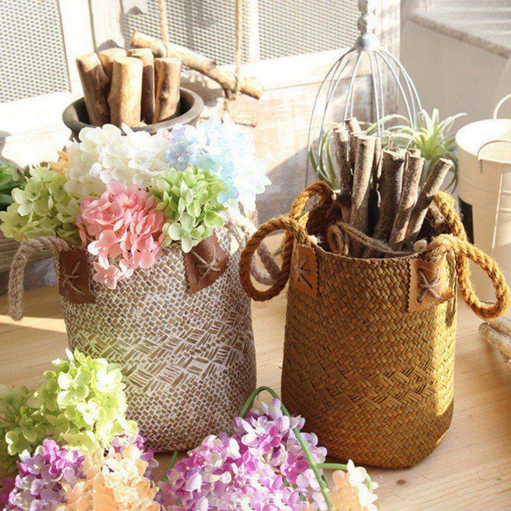 Panier de paille Gezichta tressé en jonc de mer naturel avec poignées pour ranger le linge, le pique-nique, housse de pot de fleurs, vase, corbeille à papier, et sac de plage, blanc, 16*17*23cm