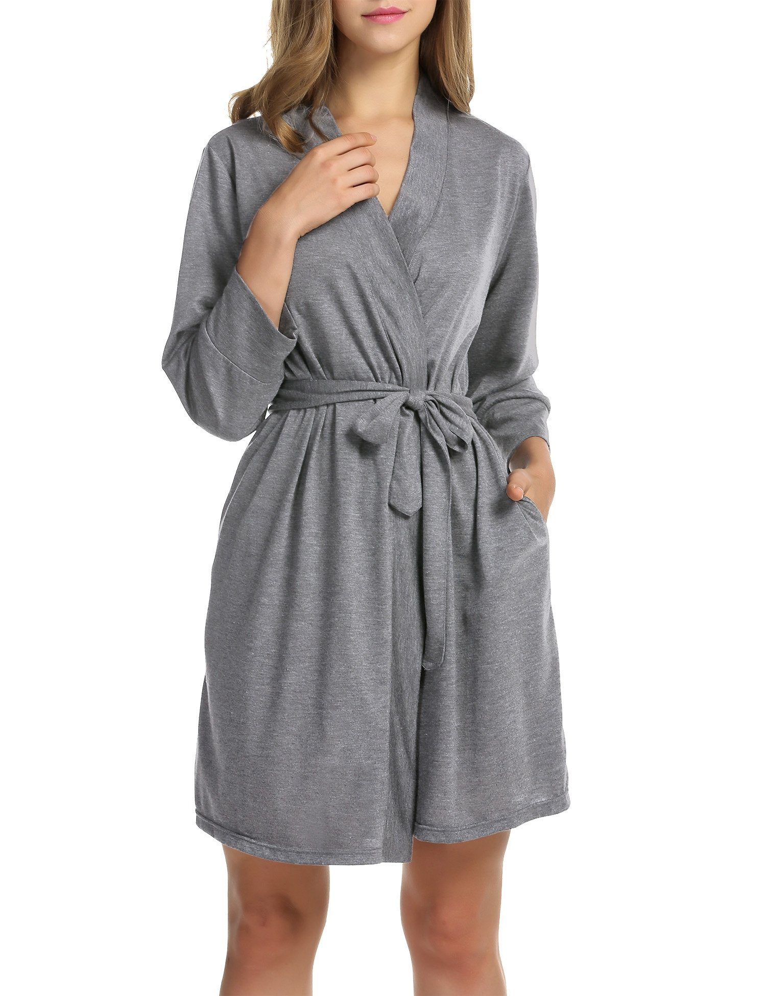 Hotouch Women's Kimono Robes Cotton Pure Colour Short Style with Oblique V-Neck Heather Gray M