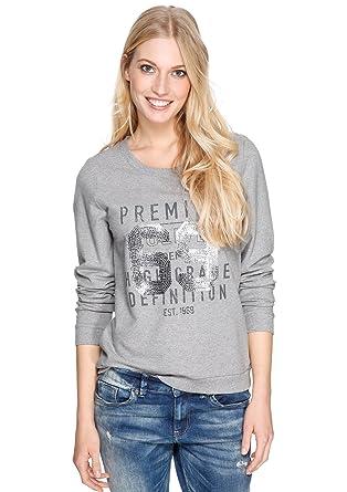 s.Oliver Damen Sweatshirt 14.401.41.7359, Einfarbig, Gr. 46, Grau ... 308f1cbe4a