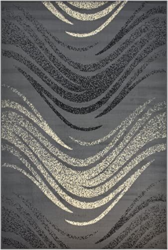 Modela Collection Waves Design Contemporary Modern Area Rug Rugs Grey