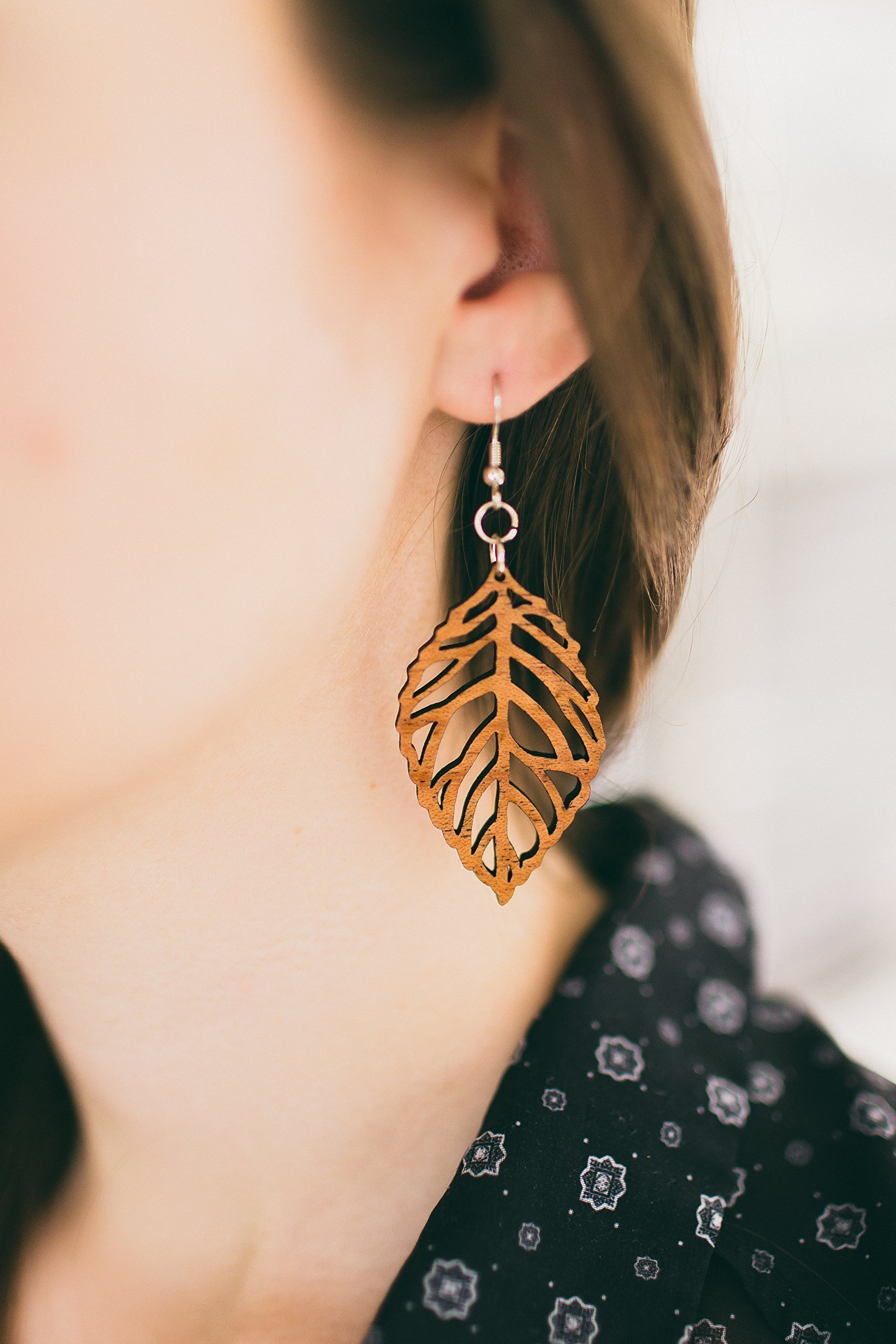 Wood Leaf Earrings from Solid Mahogany