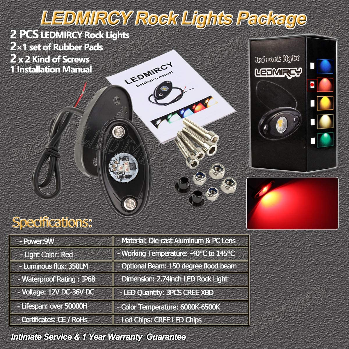 Pack of 6,Red LEDMIRCY LED Rock Lights Red Kit for JEEP Off Road Truck ATV SUV Car Auto Boat High Power Underbody Glow Neon Trail Rig Lights Underglow Lights Waterproof Shockproof