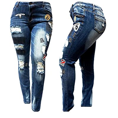 1826 Jeans Womens Plus Size Ripped Distressed Patches Blue Denim Jeans Patch Stretch Pants