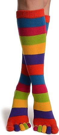 SO002310 Bright Rainbow Stripes Knee High Toe Socks