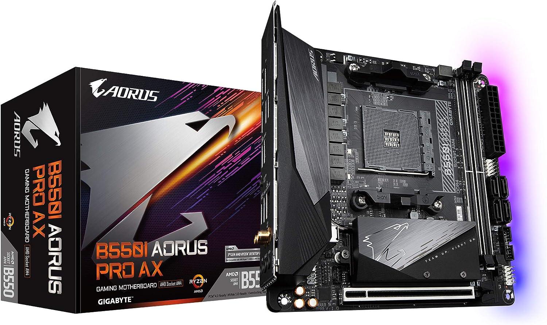 GIGABYTE B550I AORUS PRO AX (AM4 AMD/B550/Mini-Itx/Dual M.2/SATA 6Gb/s/USB 3.2 Gen 1/WiFi 6/2.5 GbE LAN/PCIe4.0/Realtek ALC1220-Vb/DisplayPort 1.4/2xHDMI 2.0B/RGB Fusion 2.0/DDR4/Gaming Motherboard)