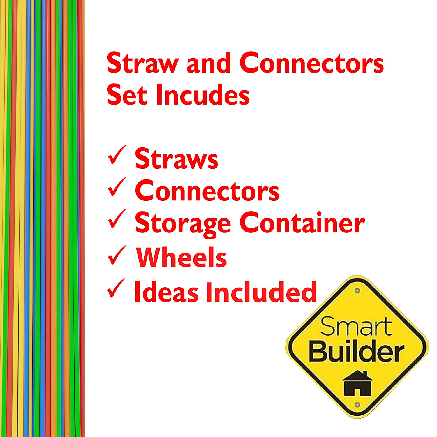 Includes 750 Pcs and Free Storage Container Smart Builder Toys Straws and Connectors Building and Construction Set