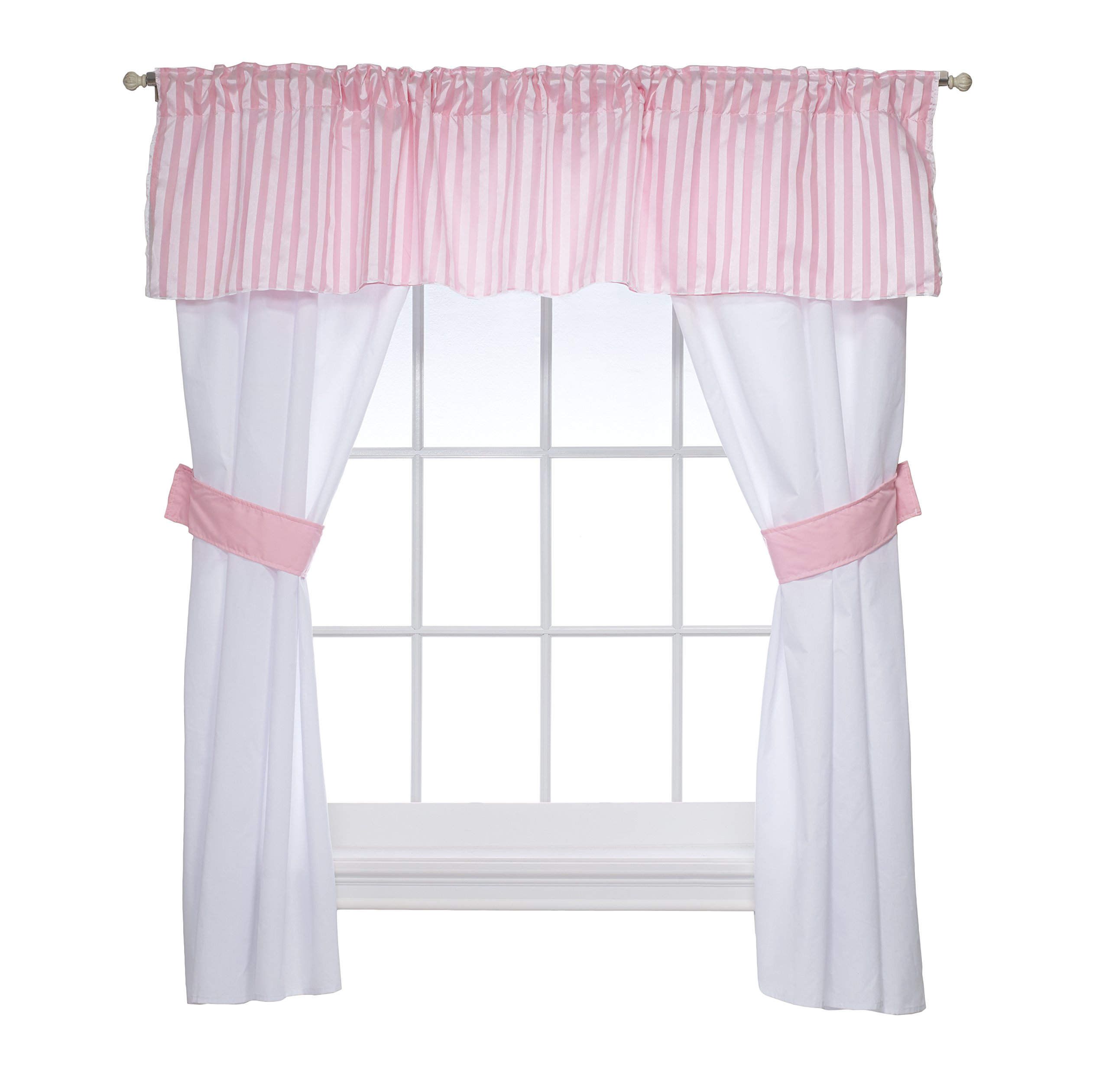 Baby Doll Candyland 5 Piece Window Valance and Curtain Set, Pink by Baby Doll