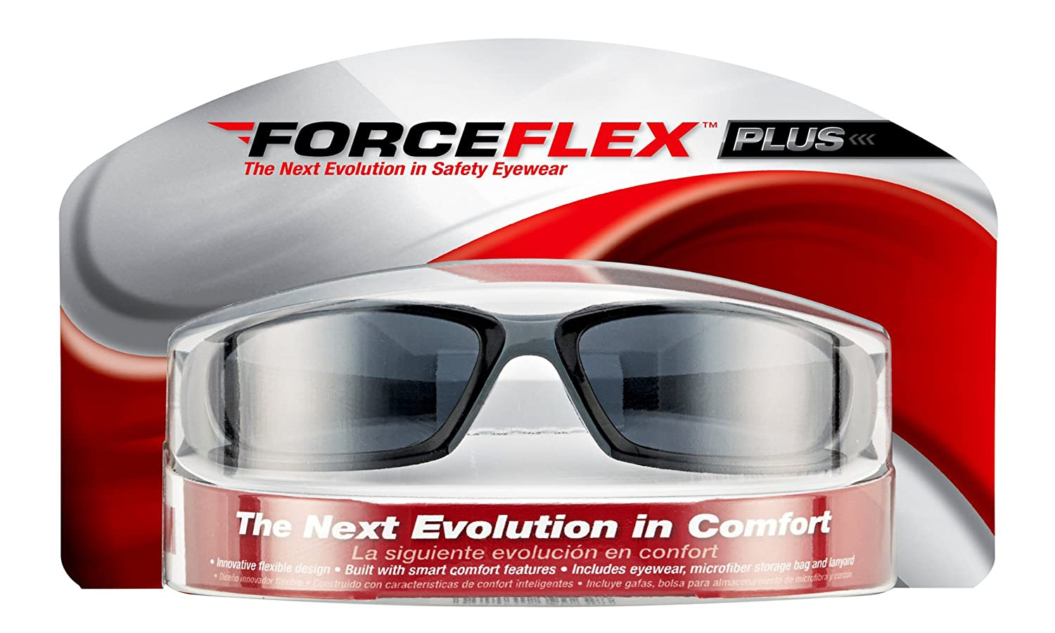 3M 92235-WZ4 ForceFlex Plus Safety Eyewear with Scratch Resistant Lens (4/Case), Frame: Black/Grey & Lens: Grey