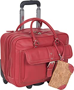 """Heritage Travelware 'Lake View' Women's Pebbled SOHO Leather Multi-Compartment 15.6"""" Laptop & Tablet Wheeled Business Portfolio Tote / Overnighter Carry-On, Red"""