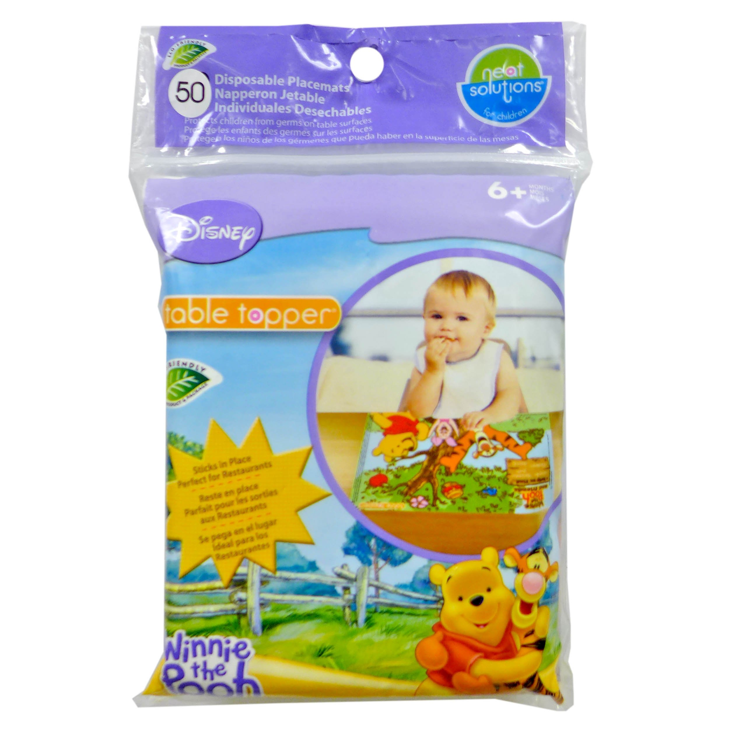 Disney Winnie The Pooh Table Topper Disposable Stick-on Placements in Reusable Package, Gender Neutral Design by Disney