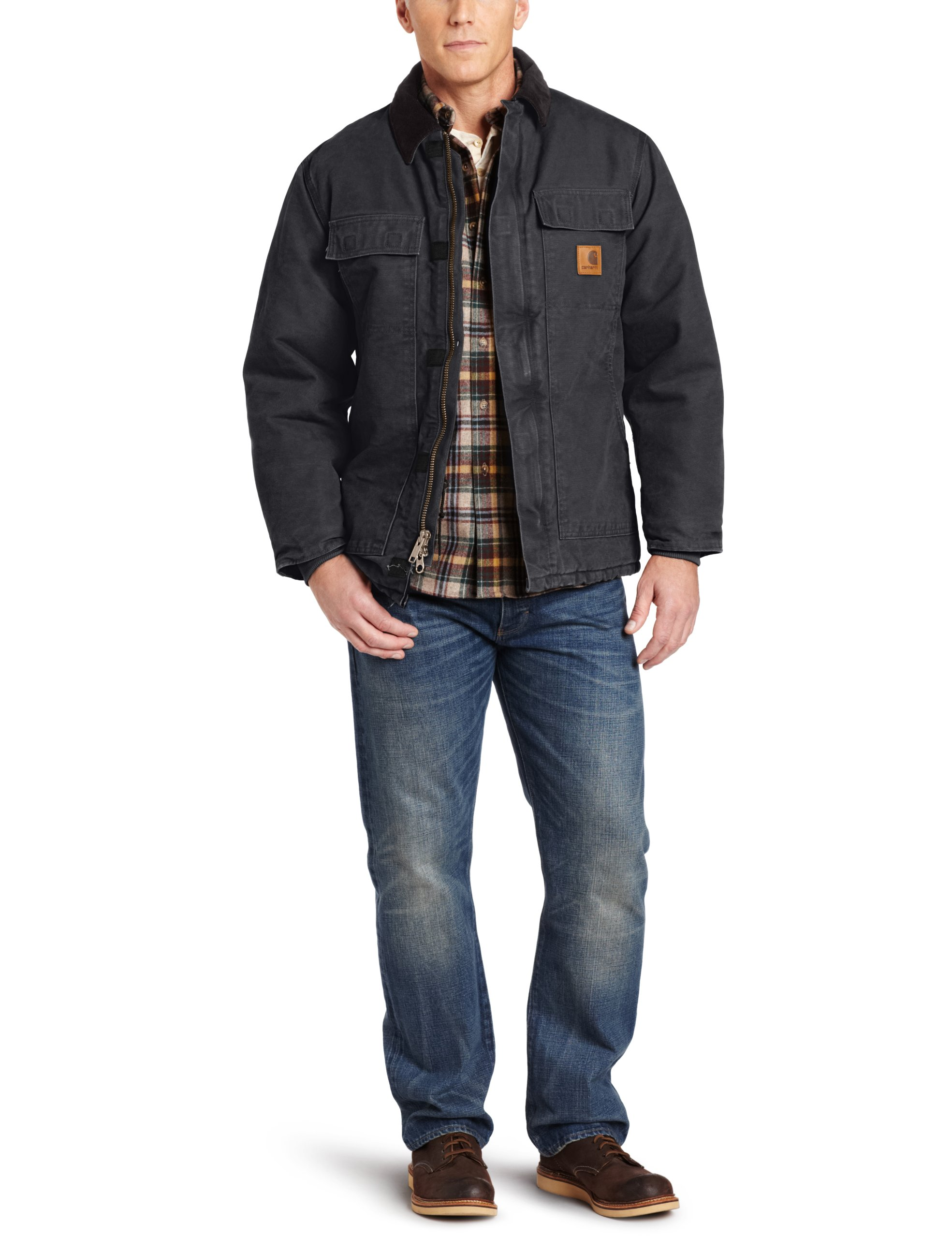 Carhartt Men's Arctic Quilt Lined Sandstone Traditional Coat C26,Black,Large