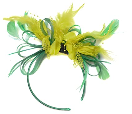 Green and Yellow Fascinator Light Net Hoop Feather Hair Headband ... b63977441c9