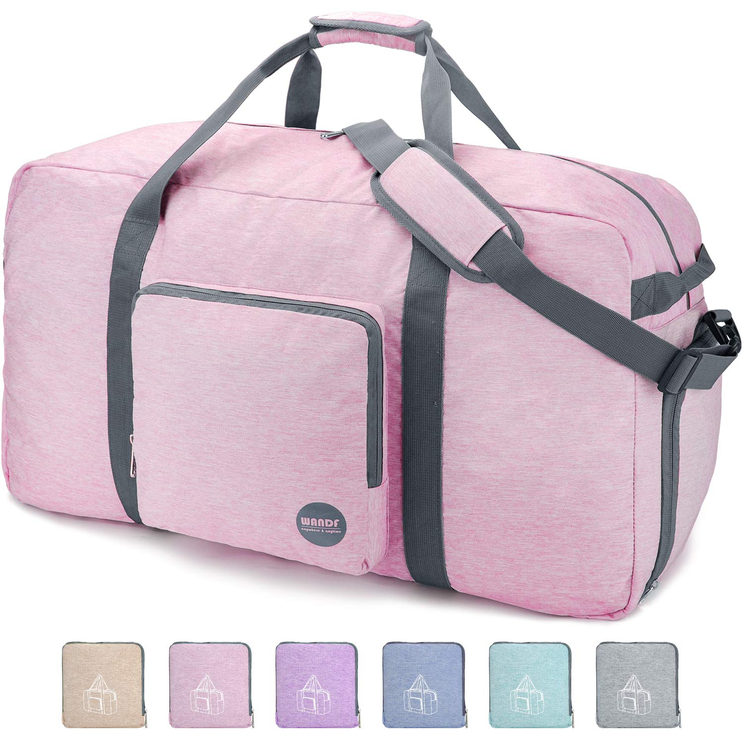 36'' Foldable Duffle Bag 120L for Travel Gym Sports Packable Lightweight Luggage Duffel Water-resistant By WANDF (Light Pink, 36 inches (120 Liter))
