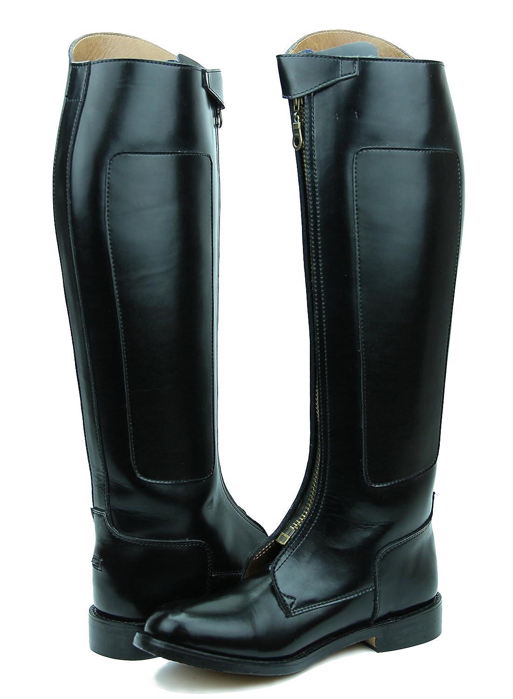 Hispar invader-1 LadiesレディースTall Knee HighレザーEquestrian Poloブーツ ブラック 10 Plus Calf
