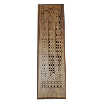 Classic Cribbage Set - Solid Walnut Wood Continuous 3 Track Board with Metal Pegs: Toys & Games