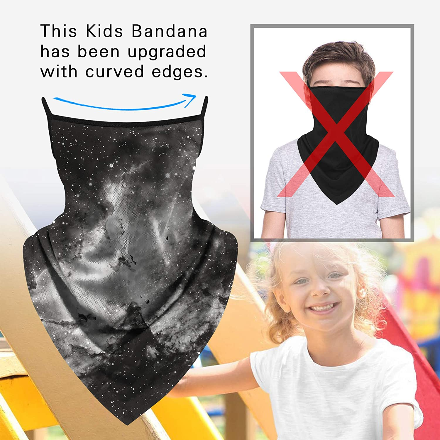 Kids Neck Gaiter Ear Loops Face Mask Triangle Covering Bandana Balaclava Scarf Reusable Sun Protection Sports Outdoor: Clothing