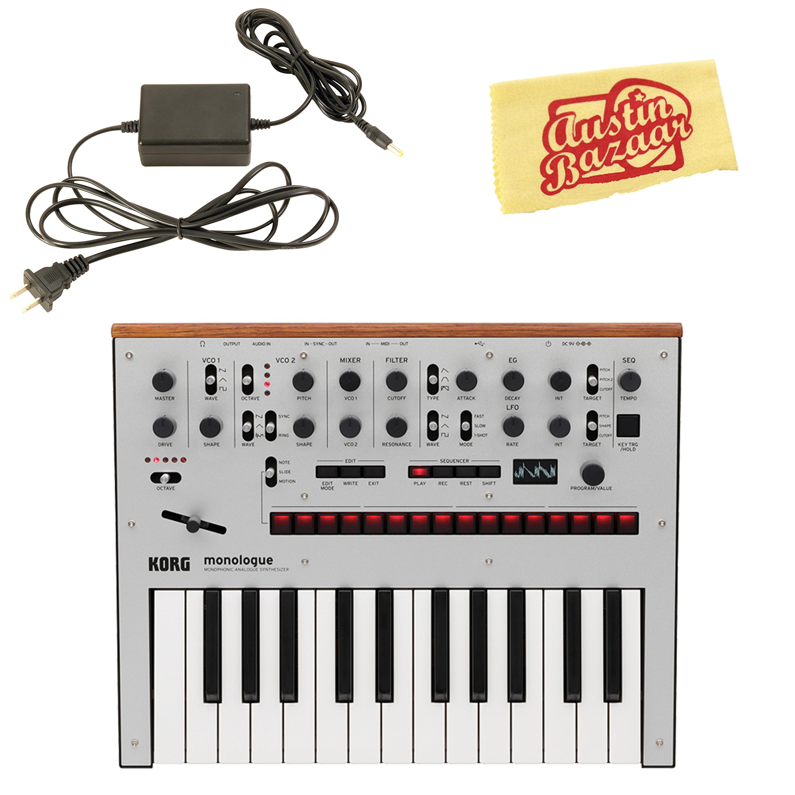 Korg Monologue Monophonic Analog Synthesizer - Silver Bundle with Power Supply and Austin Bazaar Polishing Cloth
