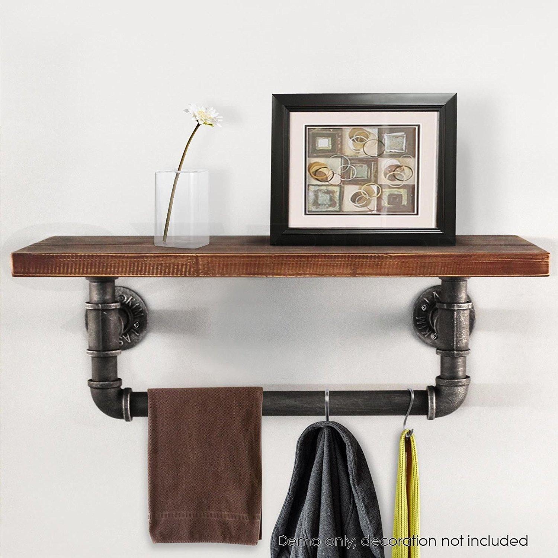 WGX Towel Racks for Bathroom,Rustic Kichen Modern Wood A-Tiers Towel Rack with Shelf Wrought Iron Towel Bar (24'')