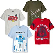 Amazon Brand - Spotted Zebra by Star Wars - Boys' Toddler & Kids 4-Pack Short-Sleeve T-Shirts