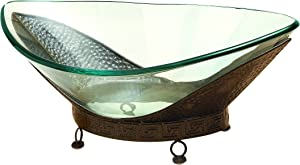 Deco 79 Glass Bowl Metal Stand, 24 by 8-Inch
