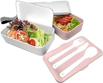 /Única NERTHUS FIH 411 Lunch Box herm/ético Individual con Cuchara Blanco//Naranja//Gris