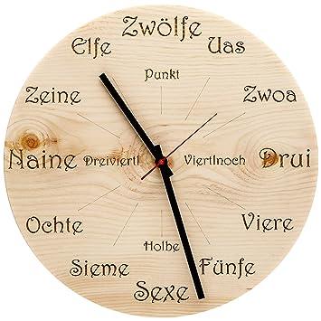 Huamet U4101 Holz Wanduhr Zirbe Dialekt Rund