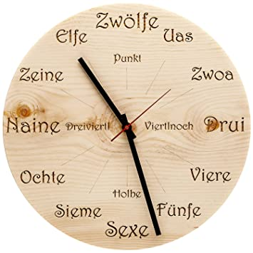 Perfekt Huamet U4101 Holz Wanduhr Zirbe Dialekt Rund