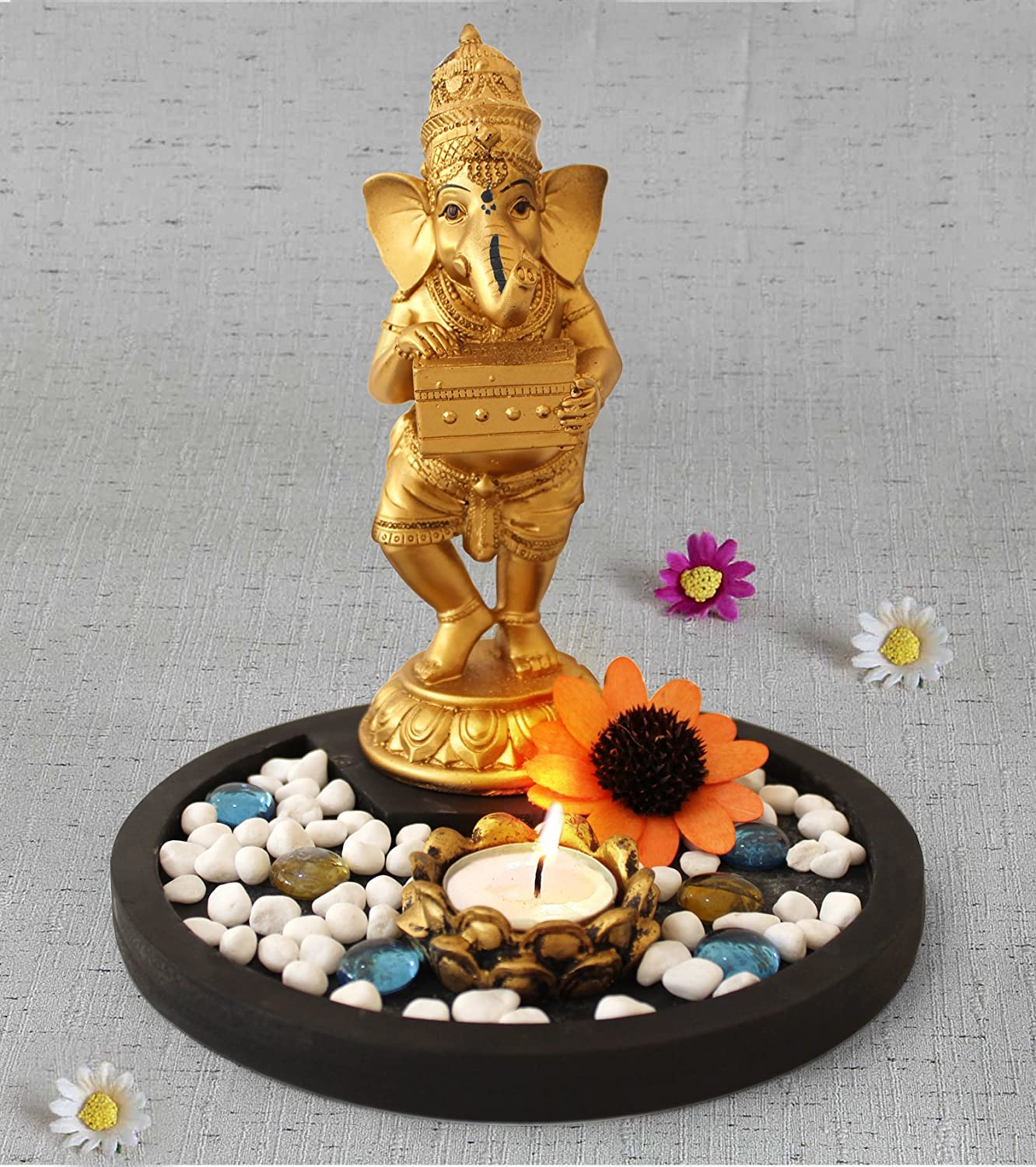 Indian God Ganesha Playing Harmonium Figurine Idol Murti with Wooden Tray, Pebbles, Artificial Flower, Tealight Candle Holder for Home decoration and House Warming Gifts