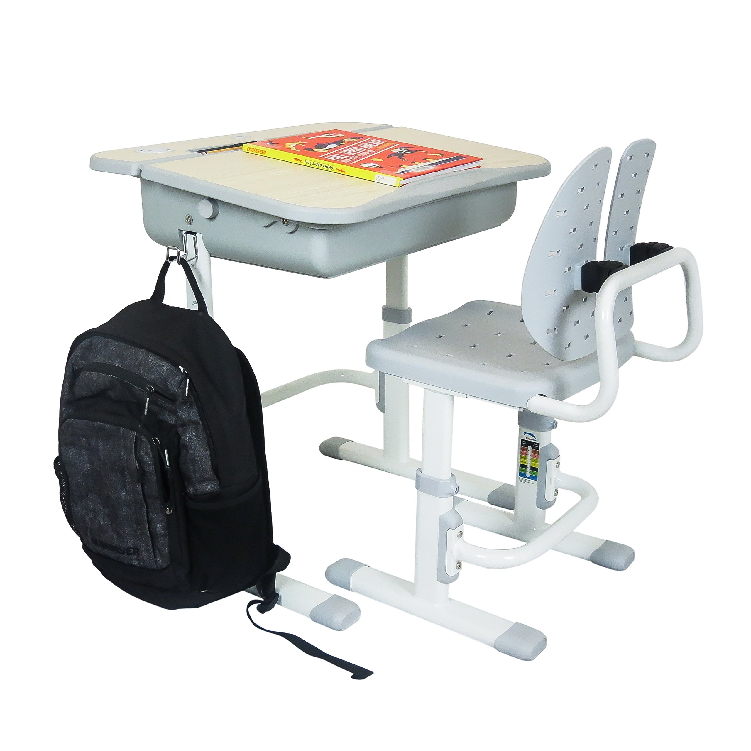 The House of Trade Height Adjustable Kids Desk and Chair Set | Student Desk for Kids Homework | for Ages 3 to 10 Gray by The House of Trade