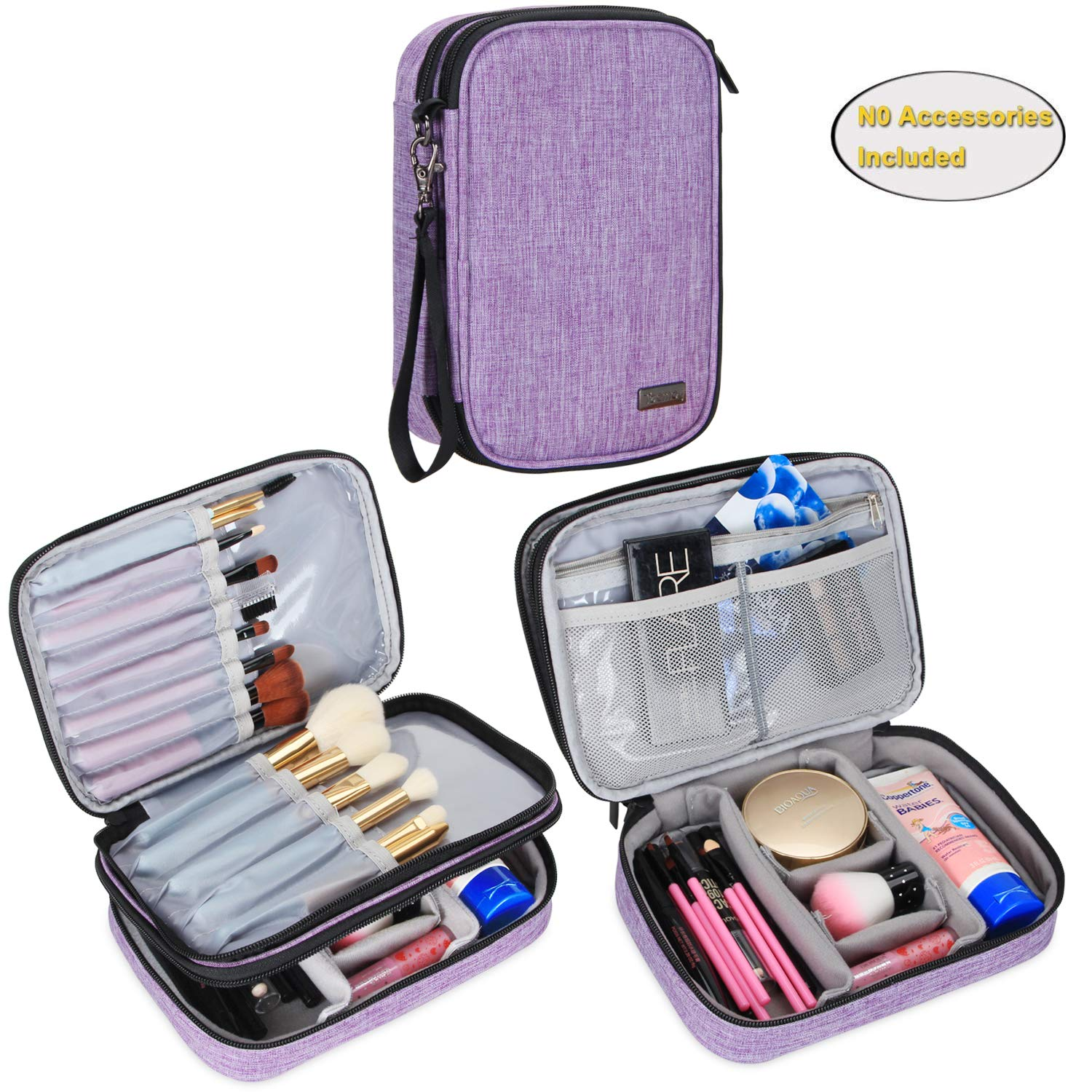 "Teamoy Travel Makeup Brush Case(up to 8.8""), Professional Makeup Train Organizer Bag with Handle Strap for Makeup Brushes and Makeup Essentials-Medium, Purple(No Accessories Included)"