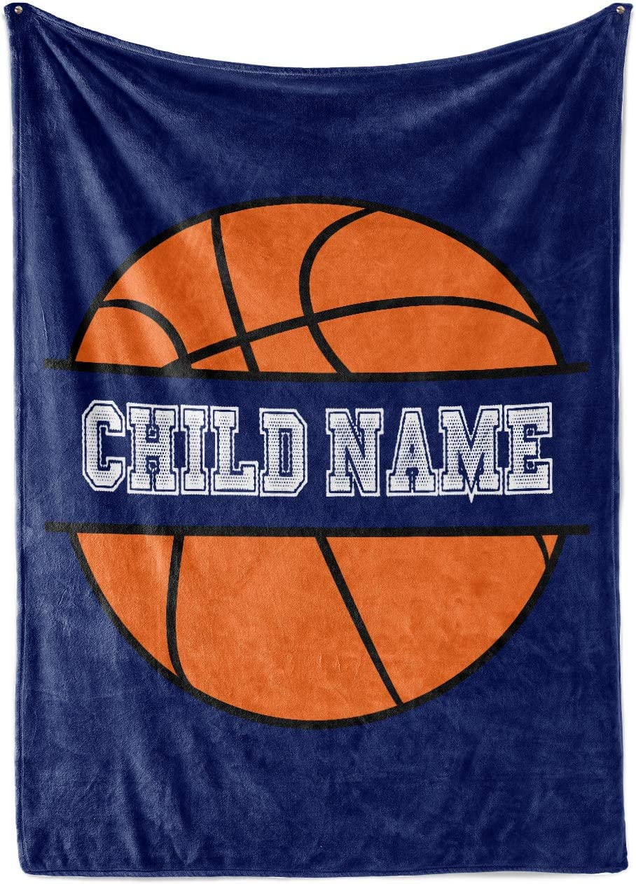 Personalized Custom Basketball Fleece and Sherpa Throw Blanket for Kids Youth Basket Ball Indoor Outdoor Blankets Boys Girls Toddler Mini Hoop Fans Toys Apparel