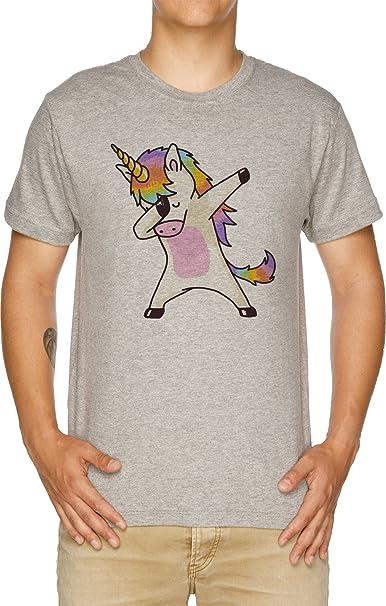 taponando Unicornio Camisa Cadera Salto Salto Pose Camiseta Hombre Gris: Amazon.es: Ropa y accesorios