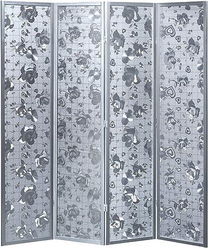 4 Panel Wooden Heart Design Silver Screen Room Divider