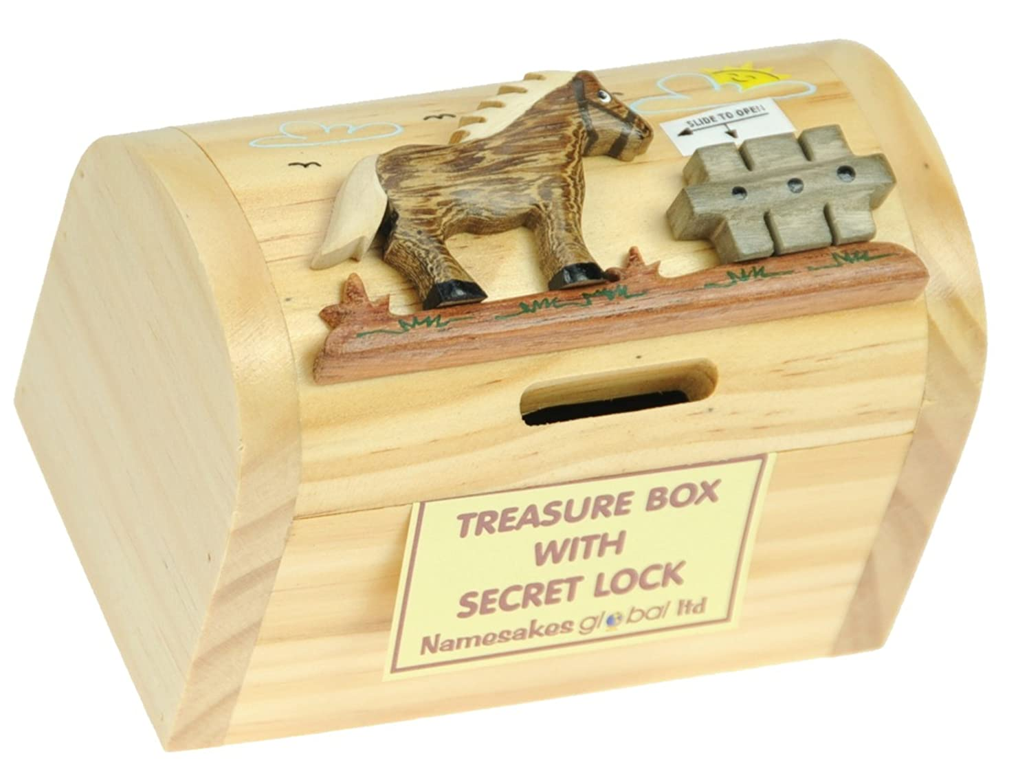 Namesakes Piggy Banks For Kids Horse Money Box With Secret Lock Traditional Wooden Toys For Children Size 12 X 9 X 7cm