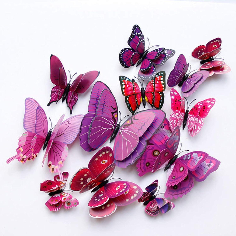 H017 GGZX 12pcs magneti Magnete del Frigorifero della Farfalla di Doppio Strato 3D di DIY per i frigoriferi della Cucina per Il Vestito per Gli Ornamenti della Decorazione Domestica dei Bambini