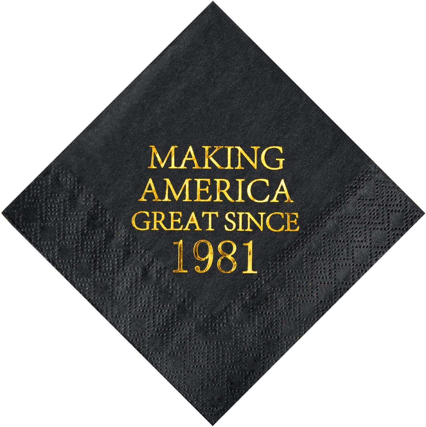 Crisky 40th Birthday Disposabel Napkins Black and Gold Dessert Beverage Cocktail Cake Napkins 40th Birthday Decoration Party Supplies for Man Making Great Since 1981, 50 Pack 4.9