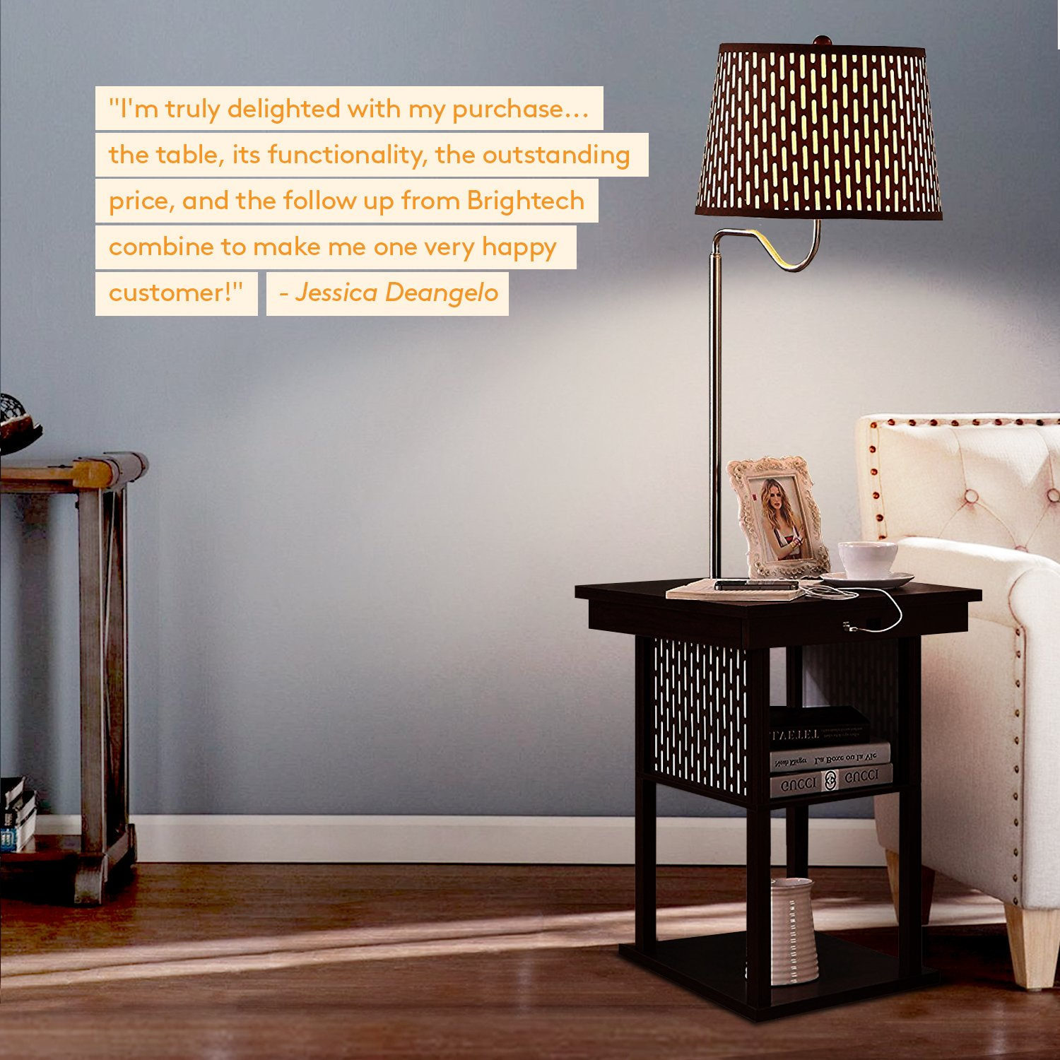 Brightech Madison - Mid Century Modern Nightstand, Shelves & USB Port Combination - Bedside Table with LED Floor Lamp Attached - End Table for Living Room Sofas - Brown by Brightech (Image #6)