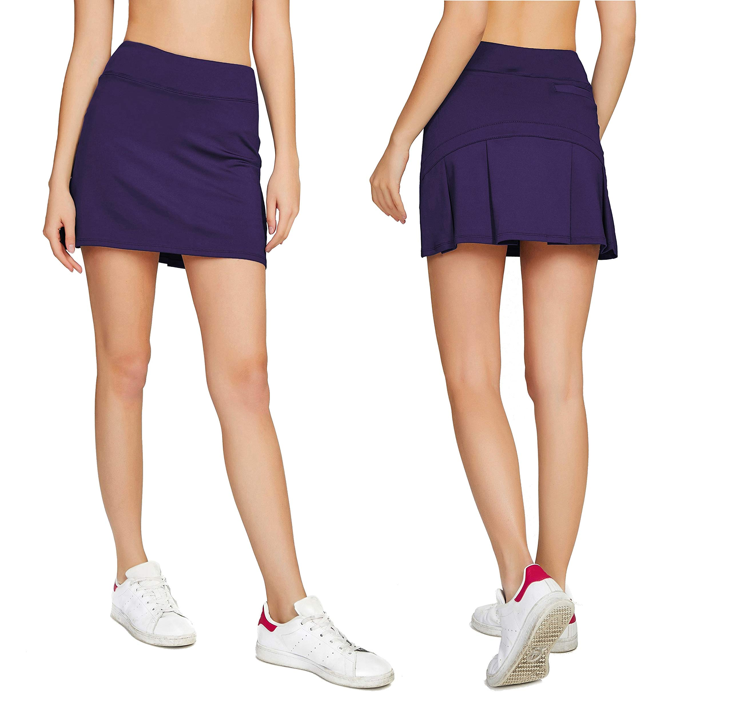 Cityoung Women's Casual Pleated Tennis Golf Skirt with Underneath Shorts Running Skorts d_pl s