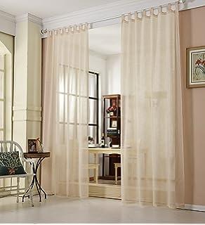 WOLTU VH5864sd, Gardinen Transparent Mit Schlaufen Leinen Landhaus Optik,  Schlaufenschal Vorhang Stores Voile Fensterschal