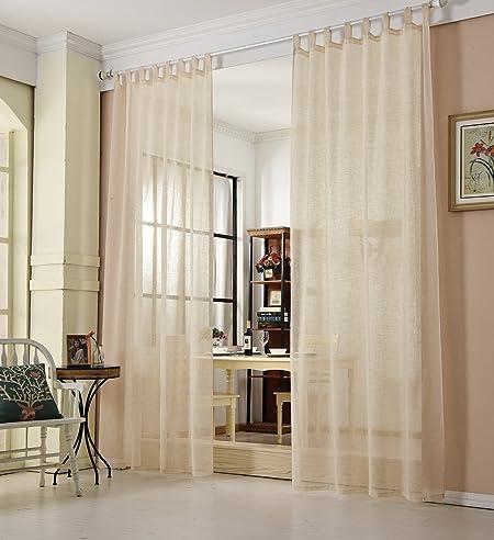 Vorhange wohnzimmer landhausstil  EUGAD 2er Set Gardinen Vorhang transparent Schlaufen Schal Leinen ...