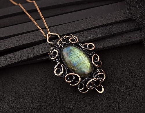 Amazon Com Oval Gemstone Blue Green Labradorite Pendant Wire